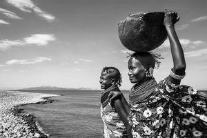 Turkana Girls on the shoreline of Lake Turkana.