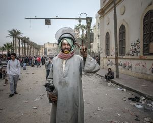 A protester during the day after the January 25 anniversary of the Egyptian revolution. © Domenico D'Alessandro