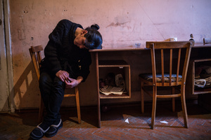 Lusine, at the age of 30,  mother of 5(Syuzanna, Karine, Levon, Suren, Nareh), in her single room apartment with no support after her husband committed suicide.