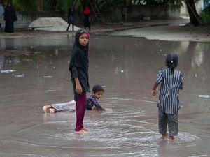 Children after the rain