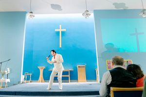 An Elvis impersonator performs in a church in Bridlington, 2017