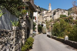 Lucéram, located on the ancient salt road through the Alps from Nice, below the Col de Turini, Provence, France