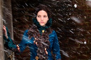 Woman in snowstorm