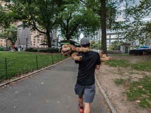 Leaving Park With Dog At Columbus Circle