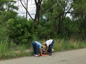 Two Men Gathering Discarded Potatoes, Eastside, Detroit 2010