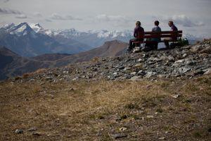 Enjoying the view post-climb