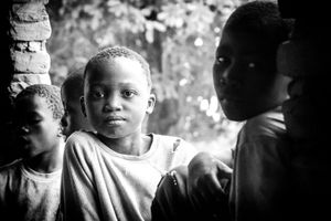 Mozambican boys at the NGO Community School in Mutua built in 2013. The NGO acts in the education and feeding of 140 children of 4 and 5 years old. Today the school has undergone reforms and improvements in classrooms.
