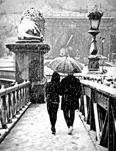 Walking in the snowfall