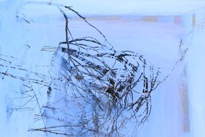 bent on ice and sleeping in blue dusk