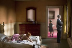 """Pink Bedroom (Family). From the series """"Hopper Meditations"""" © Richard Tuschman"""