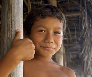 Hispanic boy grinning