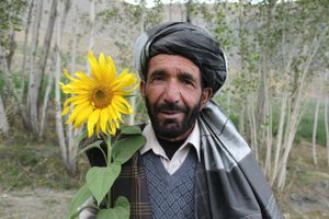 Farmer in a valley of Bamyan, Afghanistan