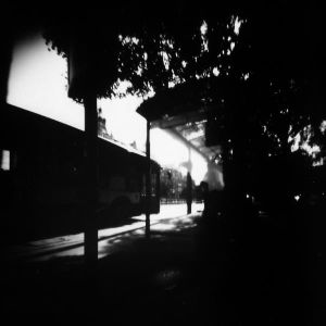 Photographic portrait of part of very sunny Katowice (in analog pinhole technique)