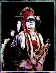 #4, Swedish powwow dancer, Portrait taken at the local powwow convention, bleach Fuji Fp100c, negative scan, Uniejow, Poland 2015.