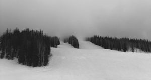 Ski Slopes in Cloud, Revelstoke, British Columbia