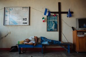 A migrant recovers in the Casa del Migrante after a mouth surgery after a many days of toothache, in Arriaga, Mexico, April 17, 2013.