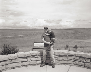 Holding Emmett at Little Bighorn National Monument, Montana