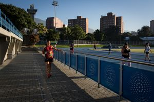 Maritza Arango, 38, arrives to the athletics complex at Atanasio Girardot Stadium in Medellín, June 2016.