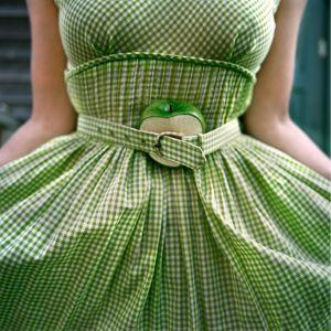 The Cut Apple and Gingham Dress, Self Portrait.  Clark's Island, Maine, 2003. © Cig Harvey.