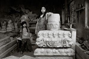 Cousins at Ratna wood in the carving workshop, Bungamatti, Kathmandu