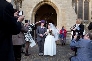 Tessa and Mark on their wedding day, Tring Church, Hertfordshire