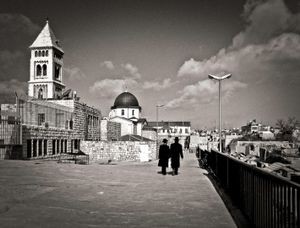 Orthodox Jews on a roof top Jerusalem, Israel