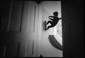 Joel, Wallride in doorway, Death Trap Ramp, Enmore, NSW
