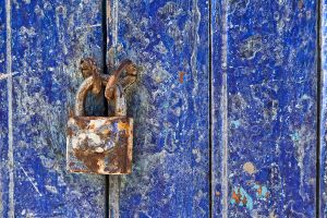 Lock on Blue Door
