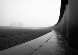A misty dawn breaking on the largest war memorial site in France near Notre Dame de Lorette.