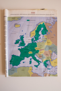 """Map of Europe, page from magazine article (1996) entitled """"After the wall: new nations, new borders and an expanding sense of unity""""."""