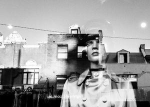 Martial Manikin and street reflection, Darlinghurst
