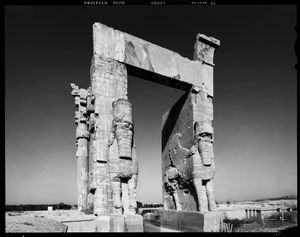 Eastern doorway of the Gate of Xerxes (Gate of All Lands) at Persepolis (518-330 BC), Fars Province, Iran, 2014.