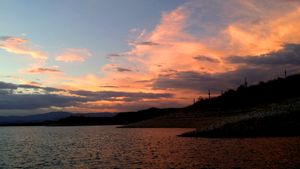 East Shore - Lake Pleasant - Sunset Reflected on Clouds