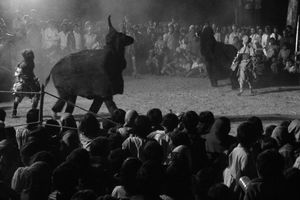 Chhau dancers, in black suits resembling animals