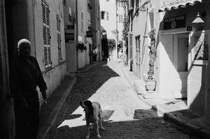 A strange figure and it's dog, St. Tropez. France. 2016.