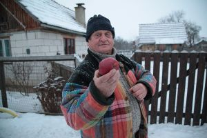 the man with the red apple