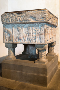 The Burnham Deepdale font illustrates agricultural activities