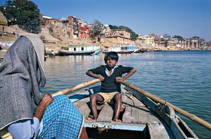 Boy Rowing Boat, Varanasi, India, 1990