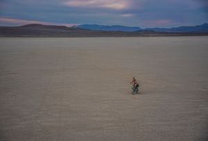 Solo biker on the edge of the playa