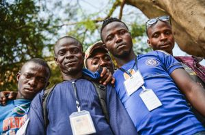 Workers from the Wester Area District Ebola Response Centre. The people of this country are proud to help in the fight against the disease.