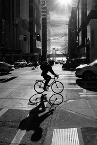 Cyclist at Late Afternoon Shadows