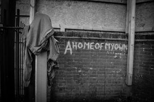 Slogans adorn the walls.