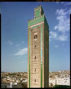 Minaret of R'cif Mosque in Fez, Morocco.