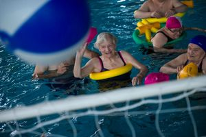 Mrs Adele Rivolta, 86 years old, having fun during a swimming class.