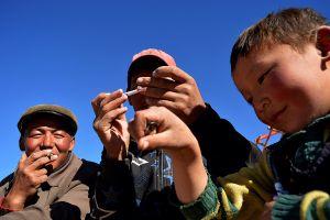 Mongolian family taking a break.