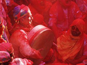 A drummer at Holi