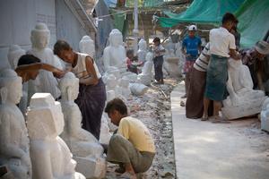 Stone Carvers. Mandalay, Myanmar (Burma)