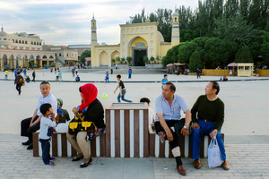 Id Kah mosque square became the local attractions for Uighurs to spent a free time with families in old Kashgar, Xinjiang Uighur Autonomous Region, China.