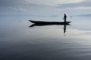 Fishers in dugout canoes on Lake Kivu, Democratic Republic of the Congo