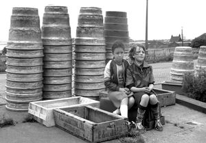 Maxine and Julie playing on St. Andrew's Fish Dock, Hull England.